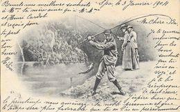 Illustration De O. Anders: La Pêche Au Saumon - Carte Dos Simple - Afrique