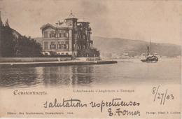 CONSTANTINOPLE    EDIT.FRUCHTERMANN  L'Ambassade D' Angleterre à Thérapia  Verso Cachet Mme E.OMER PASHA - Turkey