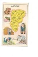 Aisne Département Carte Géographique Chromo (récompense) 100 X 60mm Pub: Pastilles Salmon Au Dos Bien Didactique - Chromos