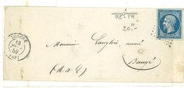 Enveloppe Adressée De LONGUE (PC 1755) A BAUGE - Yvert N° 14 Avec Belle Variété (Cassure Filet En Haut),    (111964) - 1853-1860 Napoleon III