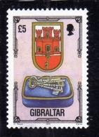 GIBRALTAR GIBILTERRA 1994 COAT OF ARMS STEMMA AMOIRIES ARCHITECTURE ARCHITETTURA £ 5 MNH - Gibilterra
