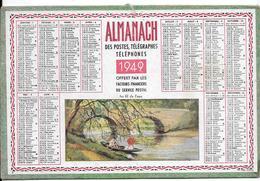 """ALMANACH Des POSTES, TELEGRAPHES, TELEPHONE - 1949 -  (moyen Format ) """"AU FIL DE L'EAU """" Personnages En Barque /tableau - Calendriers"""