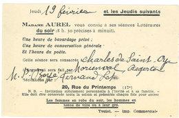 Invitation De Mme Aurel Pour Séances Littéraires (111970) - Cartes De Visite