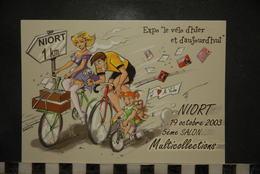 CP, Bourses Et Salons, NIORT 79, 2003 5 Eme Salon Multicollections Illustration Vélo Cyclisme 2000 EX!! - Bourses & Salons De Collections