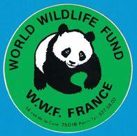 AUTOCOLLANT WORLD WILDLIFE FUND W.W.F. FRANCE 14 RUE DE LA CURE 75016 PARIS - Autocollants