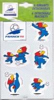Rare Plaquette Neuve  6 Magnets Détachables Coupe Du Monde 98 Footix Mascotte De L'équipe De France / Officiels/ 33NAT - Magnets