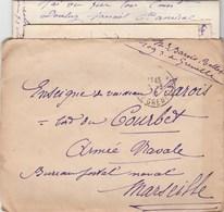 LAC FM PARIS 22/3/1916 POUR ENSEIGNE DE VAISSEAU BAROIS A BORD DU CUIRASSE COURBET MARSEILLE - Marcophilie (Lettres)