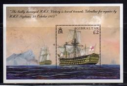 GIBRALTAR GIBILTERRA 2005 VICTORY SHIP ANNIVERSARY OF THE BATTLE OF TRAFALGAR BLOCK SHEET BLOCCO FOGLIETTO BLOC MNH - Gibilterra