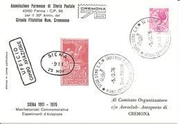 ITALIA - 1976 BOLOGNA, CREMONA, FIRENZE, LA SPEZIA, REGGIO E., SIENA  65° Esperimenti Aviazione 6 Cartoline Spec. - Aerei