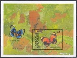 Grenada Grenadinen Grenadines 1991 Tiere Fauna Animals Schmetterlinge Butterflies Papillion Mariposa Farfalle, Bl. 211** - Grenada (1974-...)