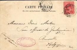 GREAT BRITAIN 107 (o) Card Bristish PostOffice Constantinople To Bruxelles Avril 1904 Quais Galata Carte Animée - Postmark Collection