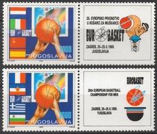 1989 Yugoslavia EUROBASKET ZAGREB Croatia LABEL VIGNETTE CINDERELLA Flag Flags France Greece Italy Spain CCCP Bulgaria - Basket-ball