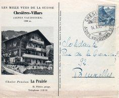 1948  Ansicht Von Chesieres Nach Bruxelles - Marcophilie