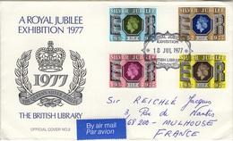 GREAT BRITAIN 829 à 832 FDC Royal Silver Jubilee Queen Elizabeth II 1977 Reine Elisabeth II British Library - 1952-1971 Pre-Decimal Issues