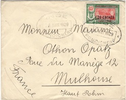 INDE  79 (o) Lettre Cachet PONDICHERY Vers MULHOUSE (France) 9 Août 1929 - Covers & Documents
