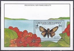 Grenada Grenadinen Grenadines 1990 Tiere Fauna Animals Schmetterlinge Butterflies Papillion Mariposa Farfalle, Bl. 187** - Grenada (1974-...)