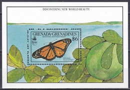 Grenada Grenadinen Grenadines 1990 Tiere Fauna Animals Schmetterlinge Butterflies Papillion Mariposa Farfalle, Bl. 188** - Grenada (1974-...)