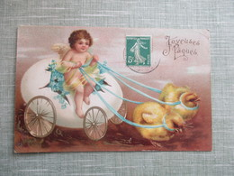 CPA FANTAISIE JOYEUSES PAQUES ANGELOT CHAR OEUF POUSSINS - Anges