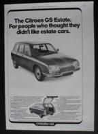 ORIGINAL 1972 MAGAZINE ADVERT FOR CITROEN GS ESTATE CAR - Advertising