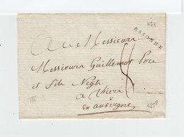 Sur Partie D'env. C. Linéaire Essonne. Taxe Manuscrite. Destination: Messieurs Guillemot Thiers Auvergne. (2032x) - 1801-1848: Précurseurs XIX