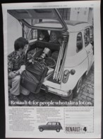 ORIGINAL 1969 MAGAZINE ADVERT FOR RENAULT 4 MOTOR CARS - Advertising