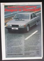 ORIGINAL 1981 MAGAZINE ADVERT FOR PEUGOT 604 D TURBO MOTOR CARS - Advertising