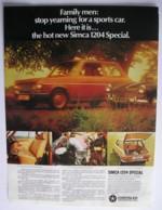 ORIGINAL 1970 MAGAZINE ADVERT FOR SIMCA 1204 SPECIAL MOTOR CAR - Advertising