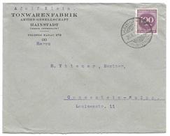 """HAINSTADT - Deutsches Reich - Lettre - """"Tonwarenfabrik Hainstadt"""" Vers Mainz, Mi. 268, 1923 - Allemagne"""