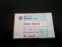 FOOTBALL DINAMO ZAGREB - MEMBERSHIPCARD 1983 - Tickets - Entradas