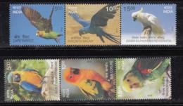 India MNH 2016, Se-tenent, Exotic Birds, Bird, Macaw Parrot, Sun Conure, Yeallow Head Amazon, Cockatoo, - Unused Stamps