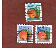 STATI UNITI (U.S.A.) - SG 3079  - 1995  FRUITS: PEACHES (3 DIFFERENT PERFORATIONS)   - USED - Used Stamps