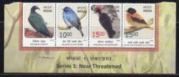 India MNH 2016, Se-tenent Of 4, Near Threatened, Birds, Bird, Pigeon, Flycatcher, Woodpecker, - Unused Stamps