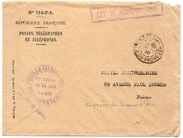 Lettre Radiomaritime De 1938 Des Saintes Maries De La Mer Avec Télégramme Envoyée Du Croiseur JEANNE D'ARC - Marcophilie (Lettres)