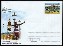 Clock Tower River Danube - 2002 - Yugoslavia - Novi Sad MARATHON - Athletics / Running -  STATIONERY Cover Letter - MNH - Athlétisme