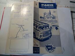 VIEUX FEUILLET DOUBLE SNCF ETE 1964. CIRCUIT EN CAR. PARIS ILE DE FRANCE SERVICES DE TOURISME SNCF. PARIS / COMPIEGNE / - Toeristische Brochures