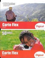 2 CARTES+ PREPAYEES-2011-50/100 Gdes-GSM-DIGICEL-CARTE FLEX-GRATTE-BE - Haïti