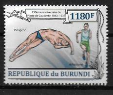 BURUNDI   N° 2051  * *   Coubertin Plongeon Natation Course - Plongeon