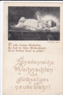 AP40 Greetings - Austrian Chrismas/New Year's Greetings, Baby Jesus In Crib - Christmas