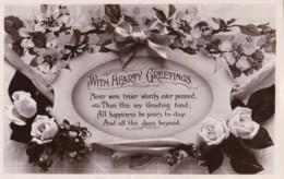 AP40 Greetings - Hearty Greetings, Flower, Bow, Ribbon, RPPC - Birthday