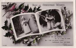 AP40 Greetings - Christmas Wishes - Robin Holly, Angels, Mistletoe, RPPC - Christmas