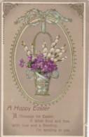 AP40 Greetings - Happy Easter - Basket Of Flowers - Easter