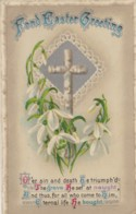 AP40 Greetings - Fond Easter Greeting - Cross, Snowdrops - Easter