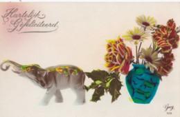 AP40 Greetings - Dutch Birthday Greeting - Elephant, Flowers - Birthday