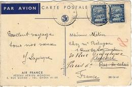 INDOCHINE 158 (o) Carte Par Avion Cochinchine Vers Paris 1931 Illustration Carte Du Monde Air France - Indochina (1889-1945)