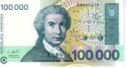 CROATIE - 100 000 Dinara 1993 - Série B 8655316 - P. 27 - UNC - Croatie