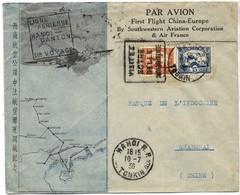 INDOCHINE 162 166 (o) Lettre 1er Vol Hanoï (Tonkin) - Canton (Chine) 10 Juillet 1936 Air France Et Southwestern Aviation - Indochine (1889-1945)