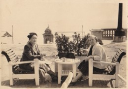 AS32 Photograph - 2 Ladies Sitting On A Terrace - Anonymous Persons