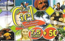 CARTE-PREPAYEE-7.5€+5€-CIEL-Valeur En Bas-TBE    - - France