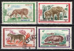 CONGO BRAZZAVILLE - 1972 - ANIMALI: LEONE- ELEFANTI - IPPOPOTAMI - USATI - Congo - Brazzaville