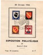 Saint-Dié 1946 - Feuillet Exposition Philatélique - Tirage 50 Exemplaires - Marcophilie (Lettres)